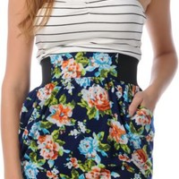 Love, Fire Aurora Navy Floral Tube Dress at Zumiez : PDP