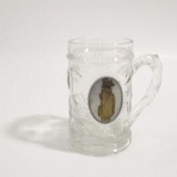 VINTAGE GOLF BEER Mug GLASS Stein w/ Pewter & Brass Golf Bag & Clubs embossed