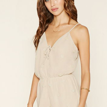 Crocheted Lace-Up Cami Romper