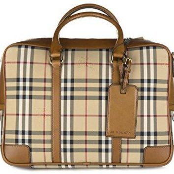 Burberry briefcase attaché case laptop pc bag leather horseferry checknewburg br