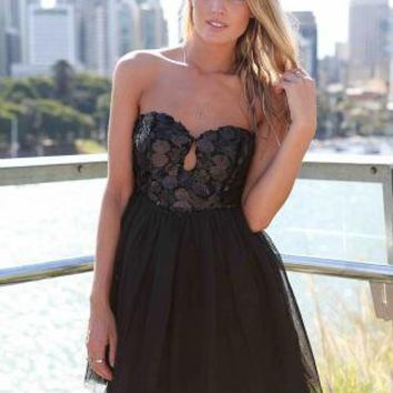 Black Strapless Dress with Sequin Bodice & Tulle Skirt
