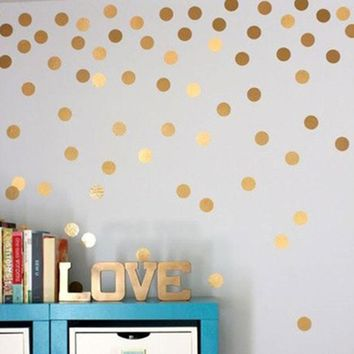 Gold Polka Dots Wall Sticker DIY Wall Decal Poster For Baby Nursery Kids Room Plastic Vinilos Paredes Adesivo De Parede