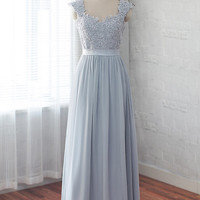 Long prom dress, chiffon bridesmaid dress, formal dress,evening dress