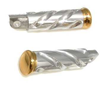 Spiral Series Harley Flip Foot Pegs Polished Aluminum and Brass