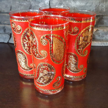 Culver Paisley Hi-Ball Glasses, Tumblers, Set of 4, Raised 22K Gold and Red Reverse, 12 oz, Ornate, Vintage Barware, Excellent Condition