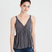 AE Soft & Sexy Sueded Lace Top, Black