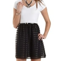 Black Combo Tulle-Striped Color Block Dress by Charlotte Russe