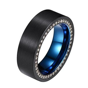 8mm Black and Blue Tungsten Ring with Cubic Zirconia Channel Inlay Brushed Surface Wedding Band