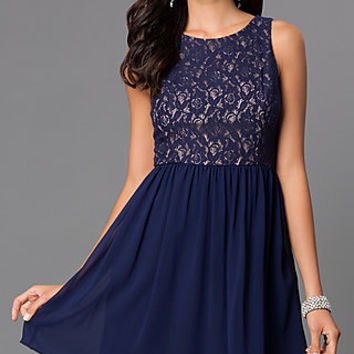 Short Sleeveless Dress 1456 with Lace Bodice by Emerald Sundae