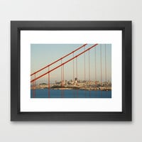 golden san gate francisco bridge Framed Art Print by Bianca Green | Society6