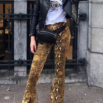 New Yellow Snake Skin Pattern High Waisted Flare Bell Bottom Streetwear Fashion Long Pants