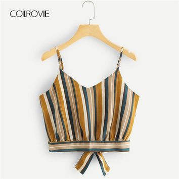 Vertical Stripe Knot Back Beach Cami Vest New Vacation Women Tank Top Spaghetti Strap Bow Tie Summer Crop Top