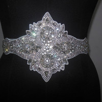 Wedding Dress Bridal Rhinestones Beaded Crystal Embellished Belt Sash /crystal vintage