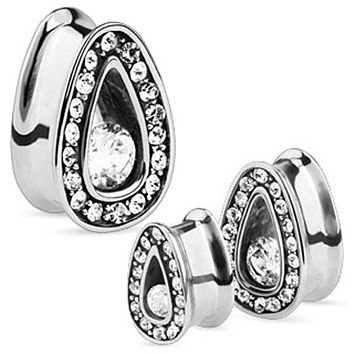 Single Set CZ with Multi Gemmed Rims 316L Surgical Steel Tear Drop Tunnel (Sold as a Pair)