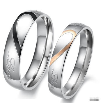 Heart Shape Matching Titanium Promise Ring for Couple 316L Stainless Steel Wedding Bands Rings = 1933194500