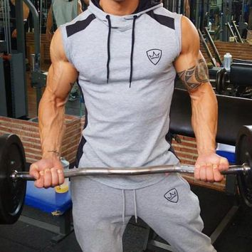 Mens Casual Cotton Pullover Sleeveless Gym Hoodie