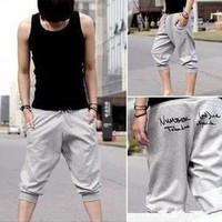 Sports Sweat Pants Harem Training Dance Baggy Jogging Casual Men Trousers Shorts