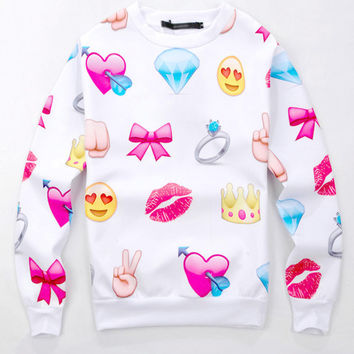 White Emoji Print Long Sleeve Sweatshirt