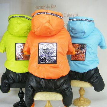Four Legs Warm Clothes With Shiny Mirror Stickers Embroidered Dogs Jumpsuit Winter