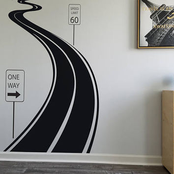 Road Highway Decal -  Road Speedway Decal Set - Tire Tracks Sticker - Speedway Home Decor Ideas -  Winding Road Decal - Wall Decor my001