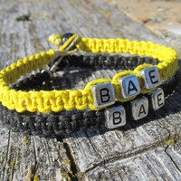 Black and Yellow Bae Bracelets, Set of Two, Before Anyone Else, Hemp Jewelry for Couples or Best Friends