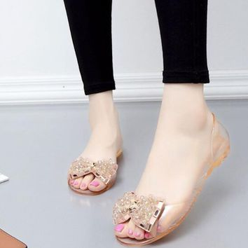 New Women Open Toe Rhinestone Jelly Clear Fashion Comfy Sandals Shoes Slippers