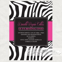 Hot Pink Zebra Print Invitation  Printable by lemonademoments