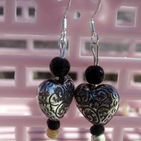 Silver Heart Charmed Earrings by By5Jewelry on Etsy