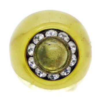 Art Deco Carved Prystal Bakelite Ring with Rhinestones and Glass Cabochon