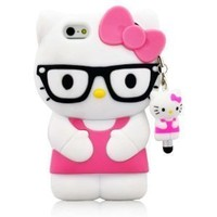 I Need Newly Super Adorable 3D Cartoon Hello Kitty Design Glasses Pattern Soft Silicone Case Cover Compatible For Apple Iphone 5 (Pink)-Hot! pink