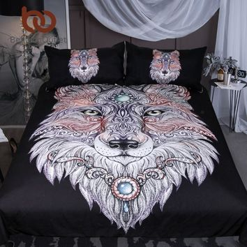 BeddingOutlet Tattoo Head Wolf Bedding Set Wild Beast Boys Duvet Cover Set Double Microfiber Animal Black Bedclothes Queen Size