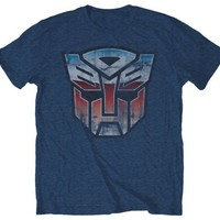 Transformers Vintage Autobot Logo Heather Blue T-Shirt | XXL