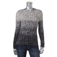 Lauren Ralph Lauren Womens Petites Cable Knit Ombre Pullover Sweater