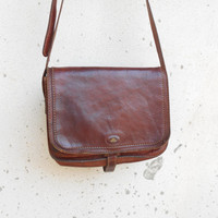 Vintage THE BRIDGE 037707 Chestnut Brown Leather Purse , Messenger ,Crossbody // Medium // Made in Italy