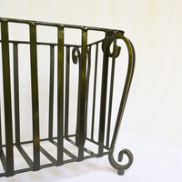 Vintage Metal Iron Plant Stand, Rod Iron Plant Holder, Porch Flower Planter, Rod Iron Outdoors