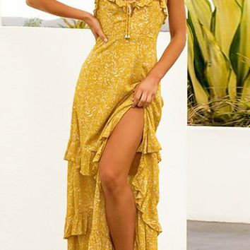 Barcelona Babe Leaf Floral Pattern Sleeveless Spaghetti Strap V Neck Ruffle Tier Slit Casual Maxi Dress - 2 Colors Available