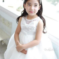 The newest foreign trade children's clothing han edition white bowknot dress skirt - the princess skirt