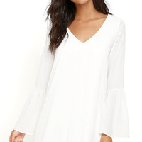 Far Wanderings Ivory Long Sleeve Shift Dress