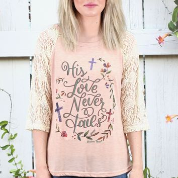 His Love Never Fails Lace Sleeve Raglan {Blush}