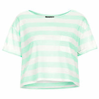 Block Stripe Pocket Tee - Mint