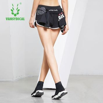 Vansydical Women Running Shorts Yoga Leggings Back Pocket Sports Workout Jogging Yoga Shorts Breathable Fitness Running Shorts