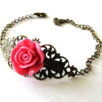 Fuchsia Pink Resin Flower Bracelet Jewelry With Bronzed Filigree And Bird Charm