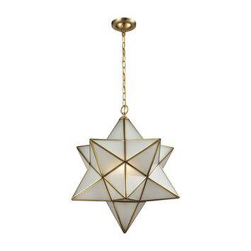 Decostar 3 Light Chandelier In Brushed Brass With Frosted Glass