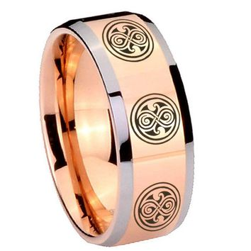 8MM Rose Gold Multiple Doctor Who Bevel Edges 2 Tone Tungsten laser Engraved Ring