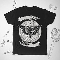 Alchemy Death Moth Alchemy Graphic Unisex Tunic Shirt Top Blouse