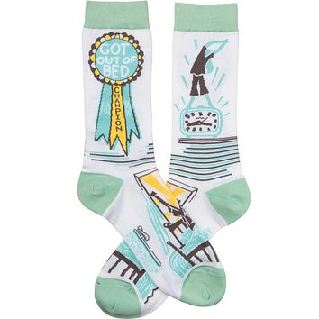 Got Out Of Bed Champion Award Funny Novelty Socks with Cool Design, Bold/Crazy/Unique/Quirky Specialty Dress Socks