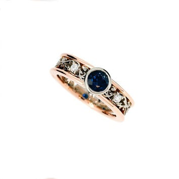 Blue sapphire engagement ring, rose gold, white gold, diamond ring, filigree engagement, two tone, blue engagement, unique, vintage , bezel