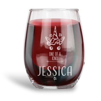 Birthday Gifts for Women and Men, Personalized 15 oz. Stemless Wine Glass |Unicorn One of a Kind Funny - Vintage Ruby Anniversary Gift Ideas