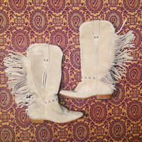 1970s VTG Fringe Suede Boots ||  Tan Size 7.5 Size 8 leather festival Boho Bohemian Cowgirl Western Cowboy Boots