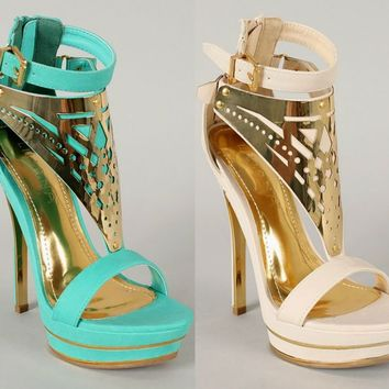 Liliana Shelby-6 Open Toe Gold Plated Platform High Heel Sandals Shoes Nude Blue